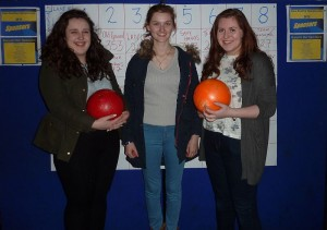 Moira Curran, Orlaith Lyons and Natasha O'Dwyer enjoying the Bowling Championship